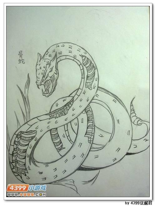 圆珠笔画蛇纹身
