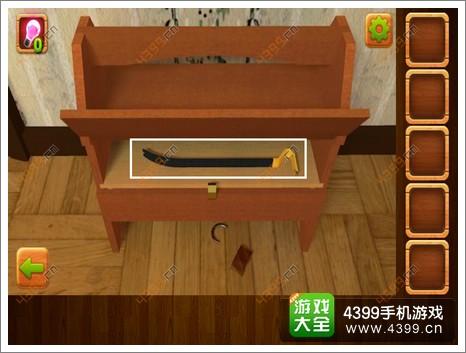 7.退回主画面,点击最右侧检查钢琴的顶部.用火柴将蜡烛点燃,出现