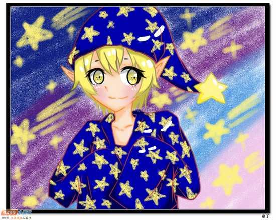 热血精灵派板绘 蓝兜星星可爱拟人
