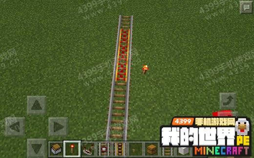 我的世界手机版自动矿车动力铁轨红石火把