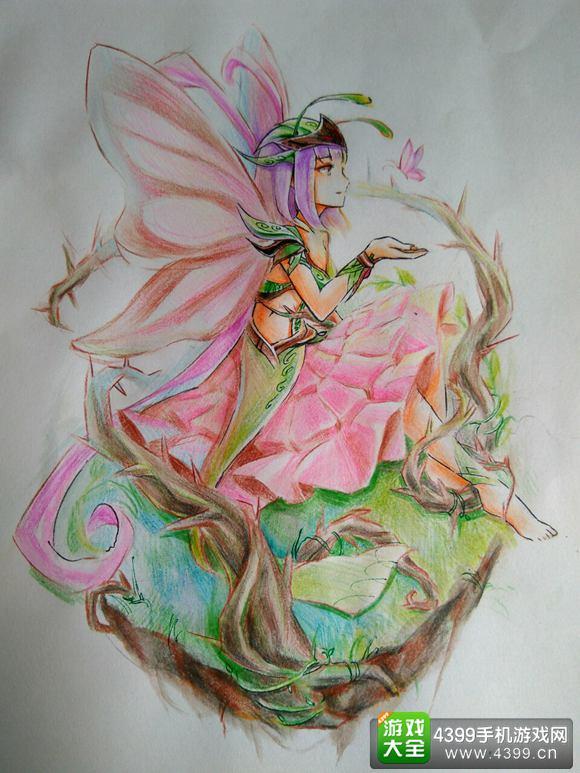 手绘百仙蝶 造梦美人图之百花之王