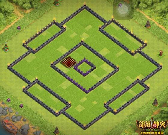 部落冲突10本护黑阵型城墙版