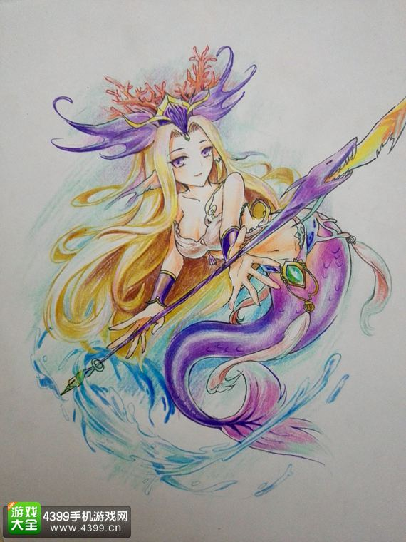 手绘斑衣鳜婆之海洋女神