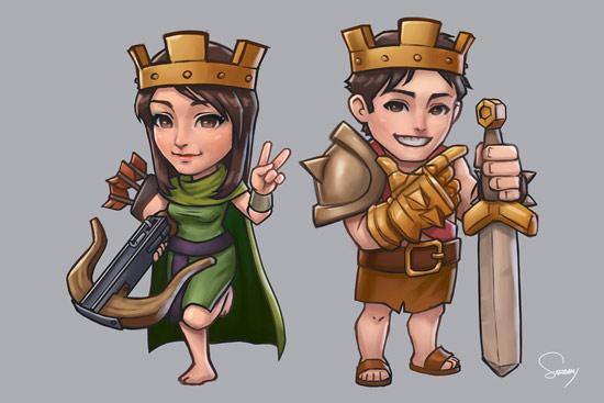 部落冲突女王和男王