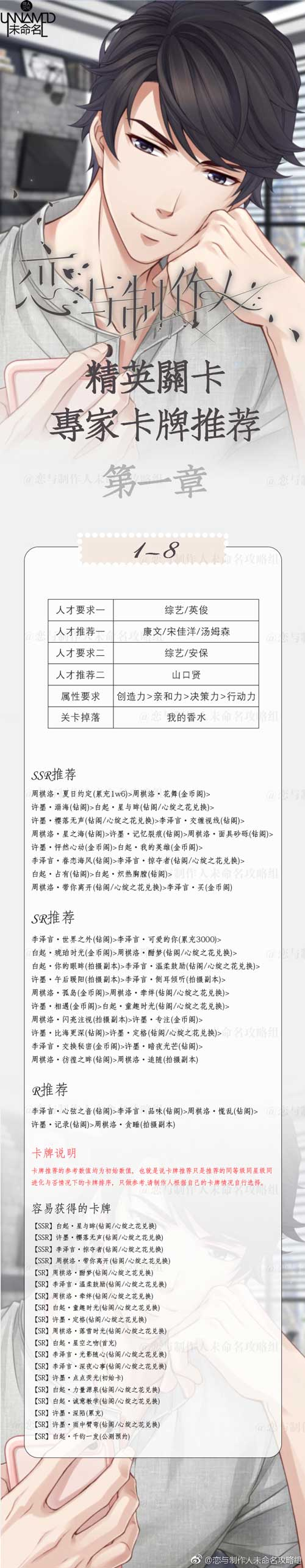 恋与制作人精英1-8关怎么过