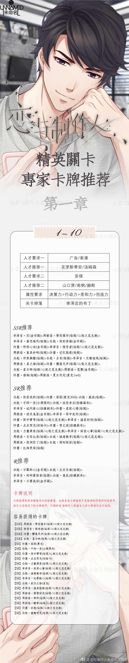 恋与制作人精英1-10关怎么过