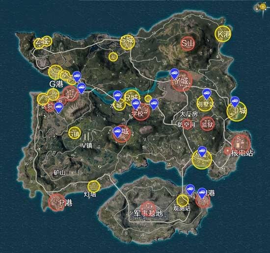 绝地求生全军出击地图分布