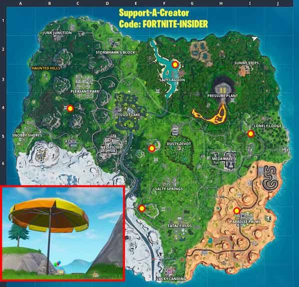 堡垒之夜巨型沙滩伞在哪里 在不同比赛中从巨型沙滩伞上弹下